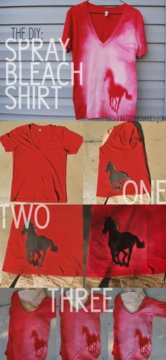 DIY Spray Bleach T-Shirt Lay down stencil and squirt bleach over