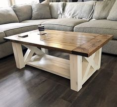 Woodworking Plans DIY Coffee Table features chunky farmhouse legs perfect for the home living room - Free woodworking plans Diy Furniture Plans, Farmhouse Furniture, Woodworking Furniture, Diy Woodworking, Popular Woodworking, Woodworking Videos, Furniture Stores, Woodworking Chisels, Woodworking Equipment