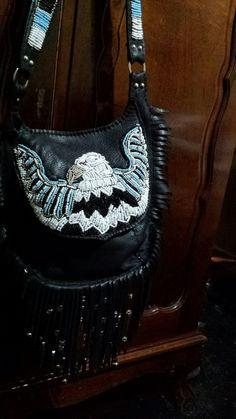 eagle beaded charm bag