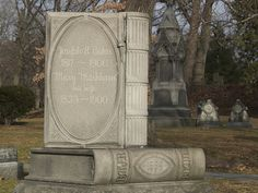 Book-shaped gravestone at Lowell Cemetery