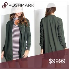 Olive Green Long Jacket🆕 Stylish long jacket perfect for the transition from winter to spring. Stretchy material and has great fit. Zipper detail at top chest. Side pockets. No trades. Price firm u less bundled. Jackets & Coats
