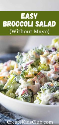 An easy broccoli salad made without mayo cutting fat and calories. Greek yogurt, sour cream, a touch of sugar, and red wine vinegar add a delicious zing to this vegetable side dish perfect for potlucks. Easy Vegetable Recipes, Easy Salad Recipes, Easy Salads, Good Healthy Recipes, Vegetable Side Dishes, Side Dish Recipes, Lunch Recipes, Healthy Snacks, Cooking Recipes