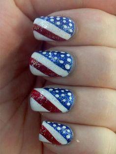 Fourth Of July Acrylic Nails 4 Juli American Flag Pincel