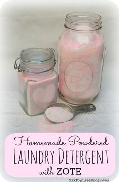 Make your own homemade powdered laundry detergent made from Zote Soap, Washing Soda, and Borax.  Waaay cheaper than commercial detergent!