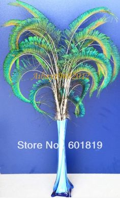 """20-25"""" CURLY PEACOCK SWORD FERN FEATHERS for wedding centerpiece,Hand Curled Peacock Feather Spray  millinery  decorate feather"""