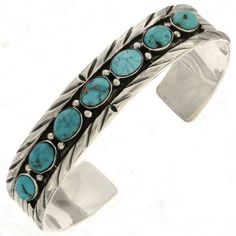 Ladies Turquoise Sterling Navajo Bracelet features a fabulous row of genuine, Sonoran Blue stones. Beautiful color enhanced by the silver Pyrite inclusions. Navajo, Turquoise Jewelry, Turquoise Bracelet, Turquoise Cuff, Sterling Silver Jewelry, Gemstone Jewelry, Silver Cuff, Silver Ring, Silver Earrings