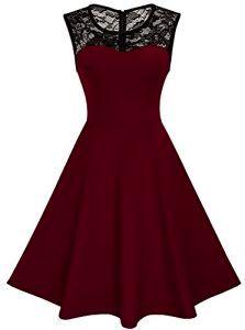 HOMEYEE Damen Elegant Spitze Rundhalsausschnitt Ärmel Mesh-A-Linie Kleid UKA008 (EU 42 (Herstellergroesse: XL), Dunkelrot)    #abendkleiderberlin #abendkleidneu #cocktailkleidshopping #cocktailkleidern #cocktailkleidbei0gradistnichtlustig