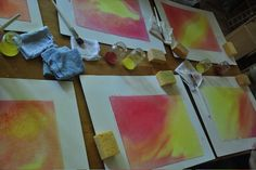 Wet-on-wet watercolor painting is a technique taught in Waldorf schools and enjoyed by many homeschoolers. It's a satisfying artistic experience, and the beautiful results can be turned into lovely gift cards, book covers, paper lanterns, or any number of beautiful objets d'art.