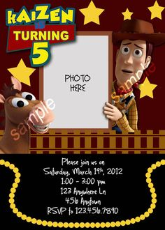 Toy Story Birthday Invite  Printityourself by Nevindigiprints, $8.00