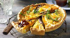 Roasted mushroom, pumpkin, cheese and egg tart