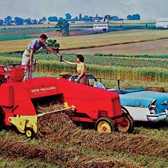 This ad from a series of New Holland promotional material dating to the late 1950s and early '60s is typical of pieces from the era, when ads more commonly featured members of the farm family  Read more: http://www.farmcollector.com/farm-life/old-ads-zm0z14janzbea.aspx#ixzz2p44goaAj