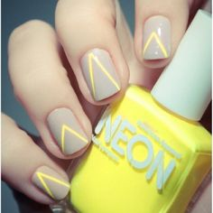 Awesome neon & gray nails