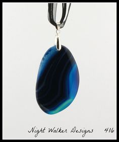 Beautiful Blue Onyx Geode Agate Stone Pendant OOAK on Black Organza Ribbon Waxen Cord Necklace 17