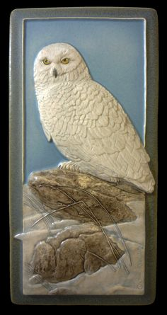 art tile Snowy Owl ceramic wall art by MedicineBluffStudio on Etsy 4 x 8 inches