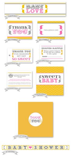 Printable Party Pack  Yellow Pink Gray Baby by miragreetings