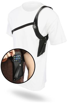 """Secret Agent Phone Holster - """"Phone holster lets you play good cop (or bad cop, or goofy cop). Who's laughing meow?"""" ($19.99)"""
