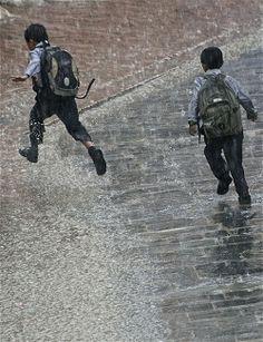 Running in the rain. Kathmandu, Nepal