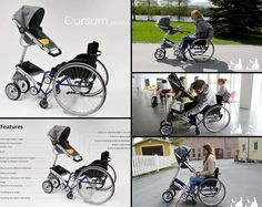 Cursum – Stroller for wheelchair users by designer Cindy Sjöblom. Parenting  can be incredibly challenging – add a mobile disability to the equation and you can imagine the difficulties. The Cursum stroller aims to make life easier by adapting to use in tandem with a wheelchair. Swivel wheels, complete height adjustment, attention to comfort and visibility and advanced safety features give parents added security and a little independence to an already challenging life experience. #NMEDA
