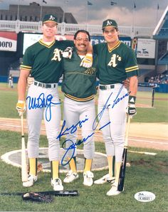 "Mark McGwire & Jose Canseco with Reggie Jackson ""The Bash Brothers"" - Oakland A's"