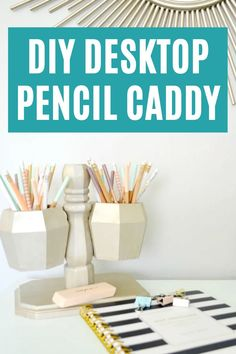 Make this fun and practical Desktop Pencil Caddy with this easy tutorial. #pencilcaddy #organization Home Office Design, Office Decor, Diy Projects Desk, Office Organization Tips, Diy Desktop, Do It Yourself Decorating, Desk Storage, Recycled Pallets, Fun Crafts