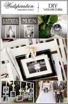 Creatief met foto's op de bruiloft. #trouwen #DIYbride Found on: Pinterest: (http://pinterest/wedspiration) - Pinterested @ http://wedspiration.com.