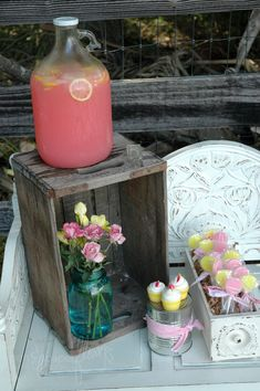 pink lemonade...maybe a jug of grape huice as the 2 main drinks at our abby cadabby party???