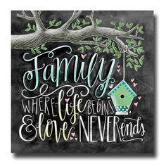 Familie, wo das Leben beginnt und Liebe nie, Kreide Kunst, Familie Schilder endet, Tafel Kunst,, Baum, Kalligraphie, Wand Kunst, Hochzeitsgeschenk