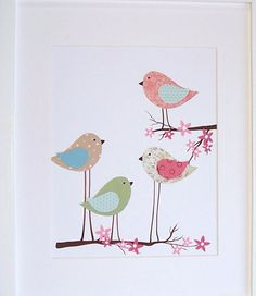Kids Wall Art Baby Girl Room Art Nursery Decor Birds by vtdesigns Bird Nursery, Nursery Art, Nursery Decor, Room Decor, Baby Wall Art, Art Wall Kids, Art For Kids, Blossom Tree Tattoo, Bird Applique