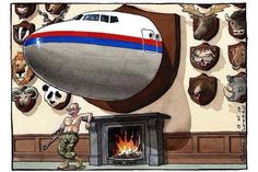 """""""Look at this brilliant London Times editorial cartoon that puts Putin in his place:"""" Ukraine, Malaysian Airlines, Tom Wright, The Peacekeeper, Offensive Humor, Political Cartoons, Political Art, Satire, Best Funny Pictures"""