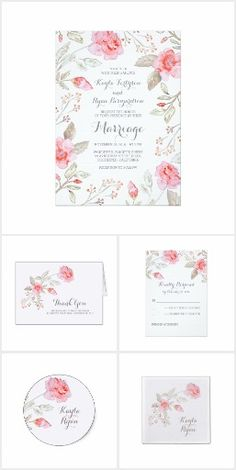 Roses and Baby's Breath Floral Wedding Collection. This rustic country wedding set / stationary / suite may include: Wedding invitation cards, wedding envelopes, wedding RSVP Cards, wedding address labels, save the dates, wedding programs, wedding thank you cards, rehearsal dinners, stamps and more matching wedding products. Click image to see all available matching items.