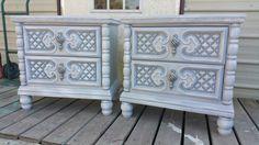 $275. SOLD Vintage Hollywood Regency Nightstands Bedside Tables Painted Furniture
