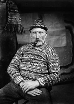photo, 'johnnie jamieson in patterned jumper and toorie' - j d rattar | shetland-museum