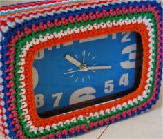 crochet clock cover,  A really cute idea! would look gorgeous in pink and white for a girly room too!