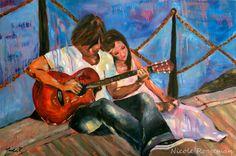Arte romántico, niño tocando guitarra, pinturas al óleo, pareja en el amor, chico, chica y una guitarra, música de romance, amor, canción, r...