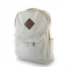 Fresh Simple Beige Stripes Trunk Canvas Backpack Rucksack School Bag from Atwish.com.<3<3<3