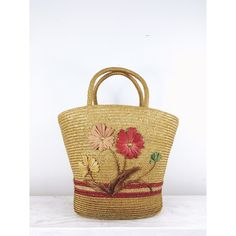vintage woven straw bucket bag, market tote, raffia floral embroidery ($22) ❤ liked on Polyvore featuring bags, handbags and tote bags