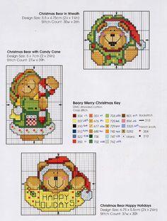 CROSS STITCH CHRISTMAS BEAR ORNAMENTS 2/2