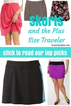 Skorts are a great warm-weather option for #plussize travelers as they cover up and keep you from chafing! Here are #herpackinglist's top picks.