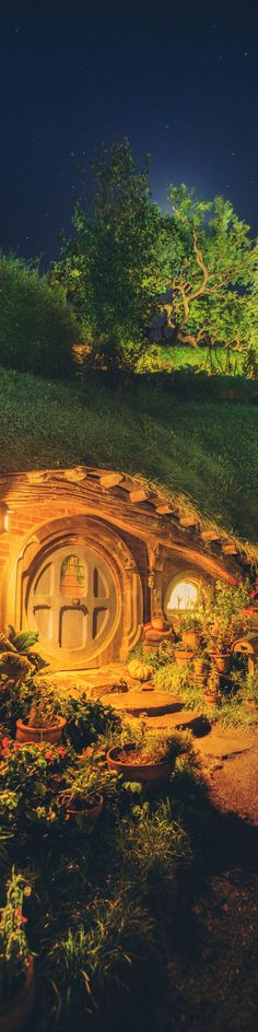 "Hobbit Hole at Night - from the Exhibition: ""Cropped for Pinterest"" - photo from #treyratcliff Trey Ratcliff at http://www.StuckInCustoms.com"