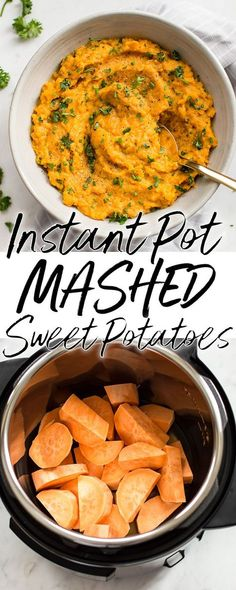 These Instant Pot mashed sweet potatoes are smooth, creamy, and make the perfect side dish for winter, fall, a special occasion like Thanksgiving or Christmas, or whenever you want a big bowl of comfort! #mashedpotatoes #mashedsweetpotatoes #sidedish #instantpot #pressurecooker