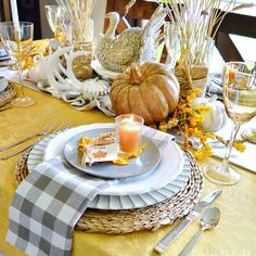 The tablescape I created for Thanksgiving this year was inspired by a recent ad by Pier 1 Imports (yes, again!) which included shades of o. Fall Table Settings, Thanksgiving Table Settings, Thanksgiving Parties, Thanksgiving Tablescapes, Thanksgiving Decorations, Seasonal Decor, Small Pumpkins, White Pumpkins, Wheat Centerpieces