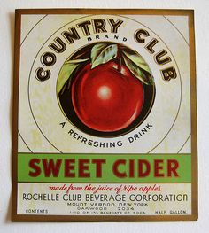 Country Club Sweet Cider - vintage soda label