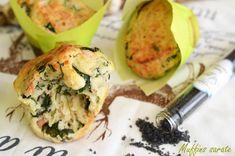 Savory muffins with spinach and smoked salmon / Muffins sarate cu spanac si somon Savory Muffins, Savoury Baking, Smoked Salmon, Yummy Food, Yummy Recipes, Baked Potato, Zucchini, Spinach, Sushi