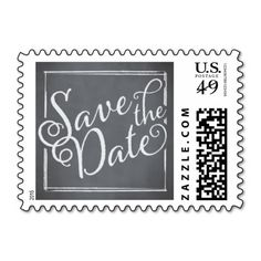 Chalkboard Script White Save the Date Stamps