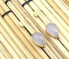 Zj8489 Sale Pink Rose Quartz 24k Gold Plated Fashion Earring Jewelry For Girls #Handmade #DropDangle