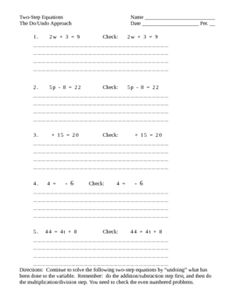 Solving Two Step Equations -
