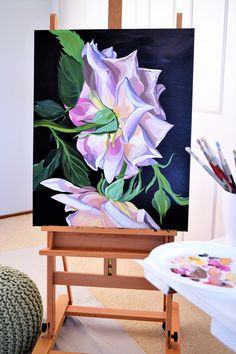 SOLD - 101 x Deep Edge Canvas Acrylics with Oil Glaze floral Jenny Fusca painting. Peony Painting, Large Painting, Floral Paintings, Mini Canvas Art, Canvas Wall Art, Underwater Painting, Learn Art, Painting Gallery, Acrylic Art