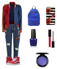 """""""Always End On A Good Night"""" by leah3000 ❤ liked on Polyvore featuring River Island, Vans, Moschino, OPI, Gucci and MAC Cosmetics"""