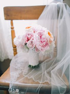 pink + peach peony bouquet | Rachel May #wedding
