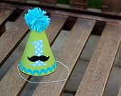 First Birthday Hat Mustache Lime Green Aqua Dots Black 1st Birthday Outfit Little Man